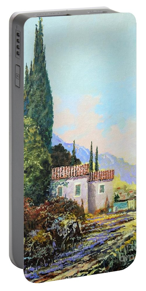 Original Painting Portable Battery Charger featuring the painting Mediterraneo 2 by Sinisa Saratlic