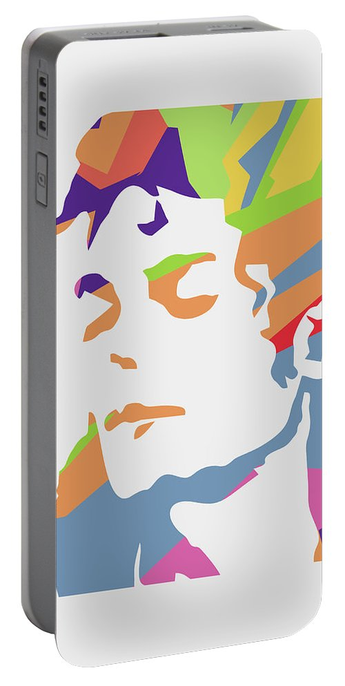 Michael Jackson Portable Battery Charger featuring the digital art Michael Jackson 3 POP ART by Ahmad Nusyirwan