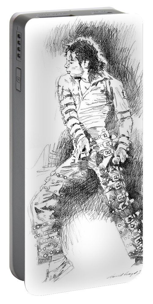 Michael Jackson Portable Battery Charger featuring the drawing Michael Jackson - Onstage by David Lloyd Glover