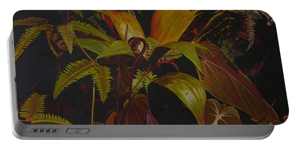 Plant Portable Battery Charger featuring the painting Midnight in the garden by Thu Nguyen