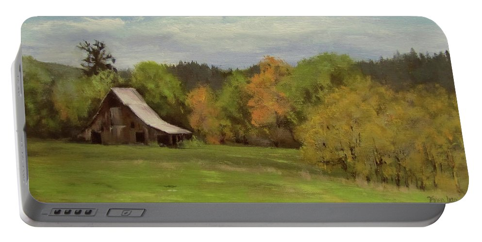 Barn Portable Battery Charger featuring the painting Mildred Kanipe Equestrian Park by Karen Ilari