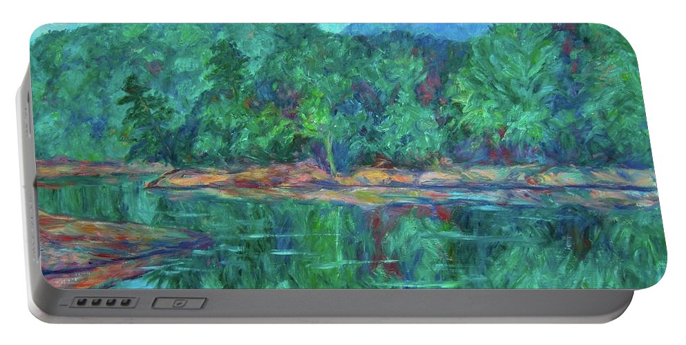 Landscape Portable Battery Charger featuring the painting Misty Morning at Carvins Cove by Kendall Kessler
