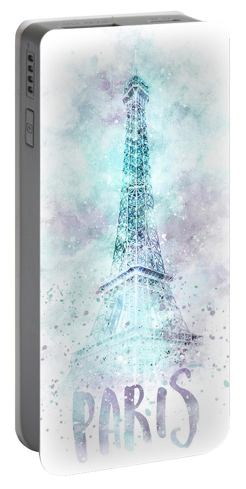 Paris Portable Battery Charger featuring the photograph Modern Art Eiffel Tower Watercolor by Melanie Viola