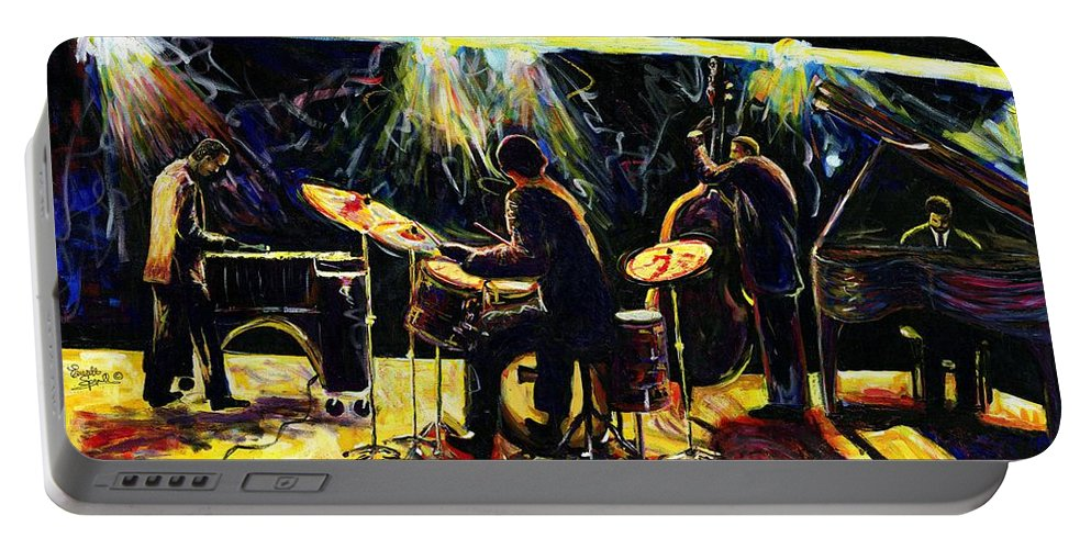 Everett Spruill Portable Battery Charger featuring the painting Modern Jazz Quartet take2 by Everett Spruill