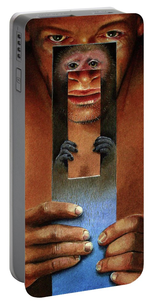 Man Portable Battery Charger featuring the painting Monkeyman by Denny Bond