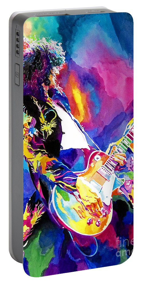 Jimmy Page Artwork Portable Battery Charger featuring the painting Monolithic Riff - Jimmy Page by David Lloyd Glover