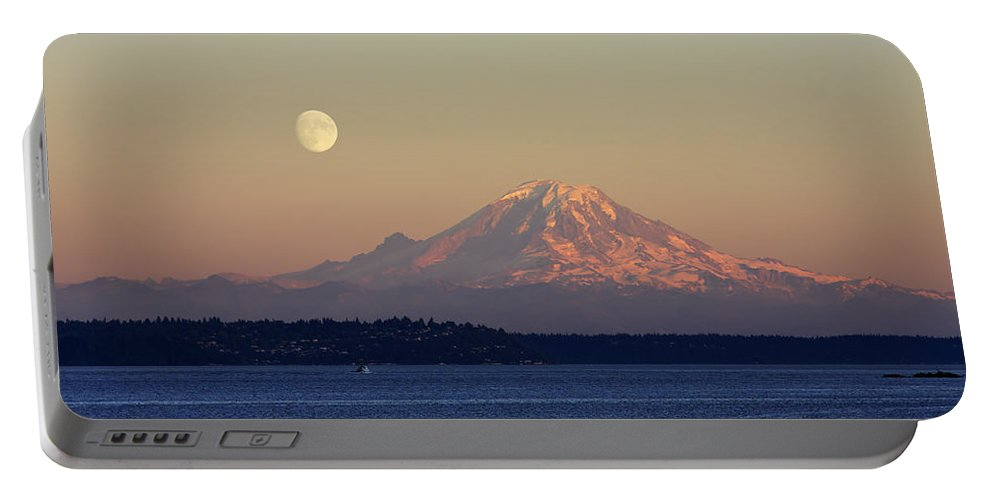 3scape Portable Battery Charger featuring the photograph Moon Over Rainier by Adam Romanowicz