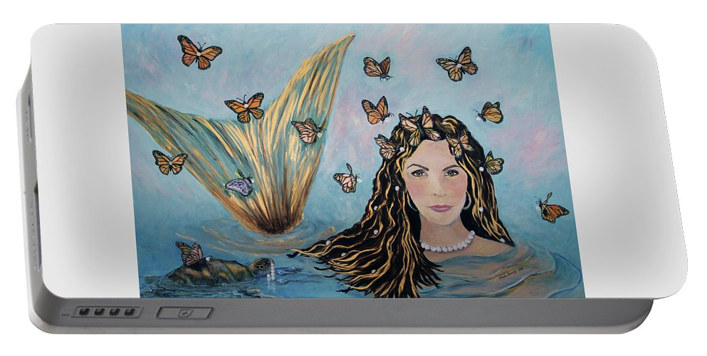 Mermaid Portable Battery Charger featuring the painting More Precious Than Gold by Linda Queally