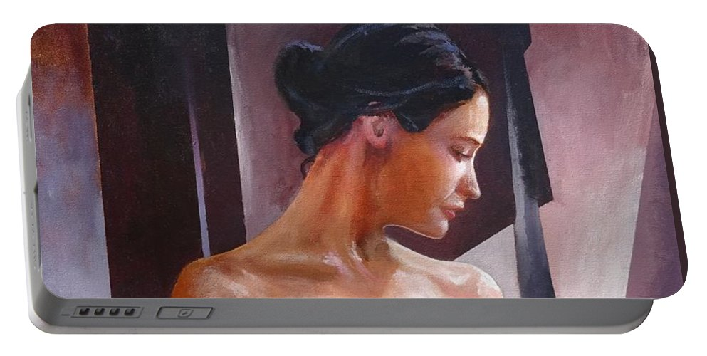 Female Figure Portable Battery Charger featuring the painting Morning Beauty by Sinisa Saratlic