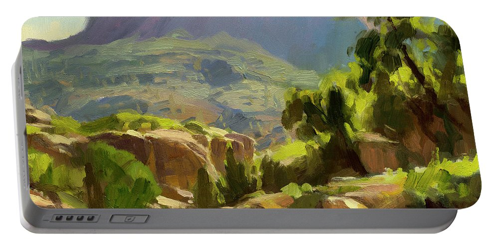 Zion Portable Battery Charger featuring the painting Mountain of Spires by Steve Henderson