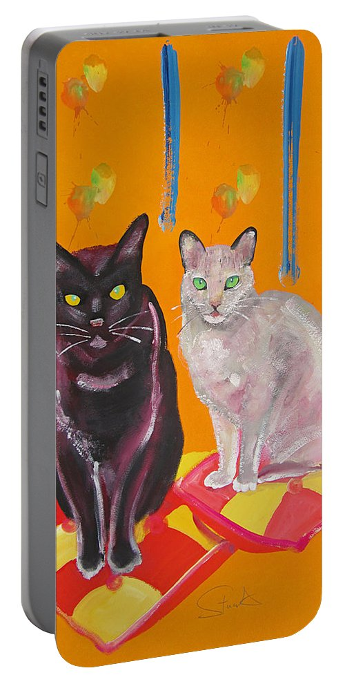 Burmese Portable Battery Charger featuring the painting Mr And Mrs Cat by Charles Stuart