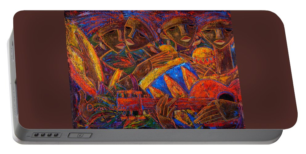 Puerto Rico Portable Battery Charger featuring the painting Musas Del Caribe by Oscar Ortiz