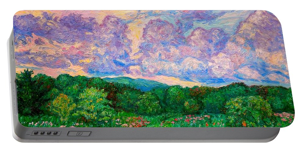 Landscape Portable Battery Charger featuring the painting Mushroom Clouds by Kendall Kessler