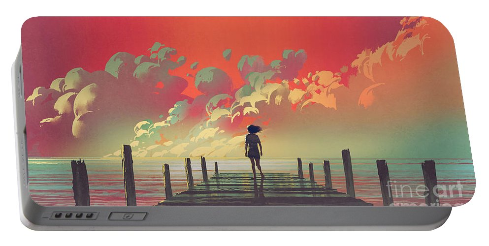 Illustration Portable Battery Charger featuring the painting My Dream Place by Tithi Luadthong
