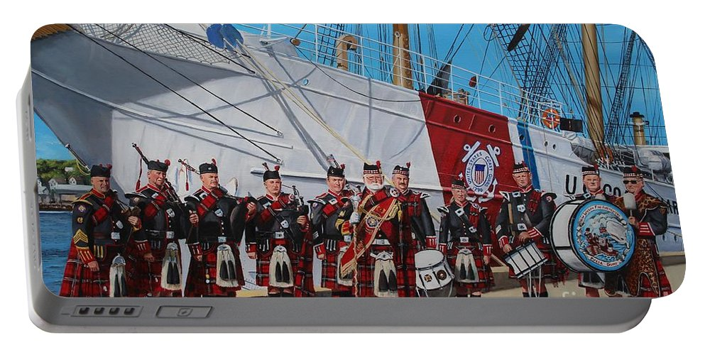 New London Fire Department Portable Battery Charger featuring the painting New London Fire Department Band by Paul Walsh