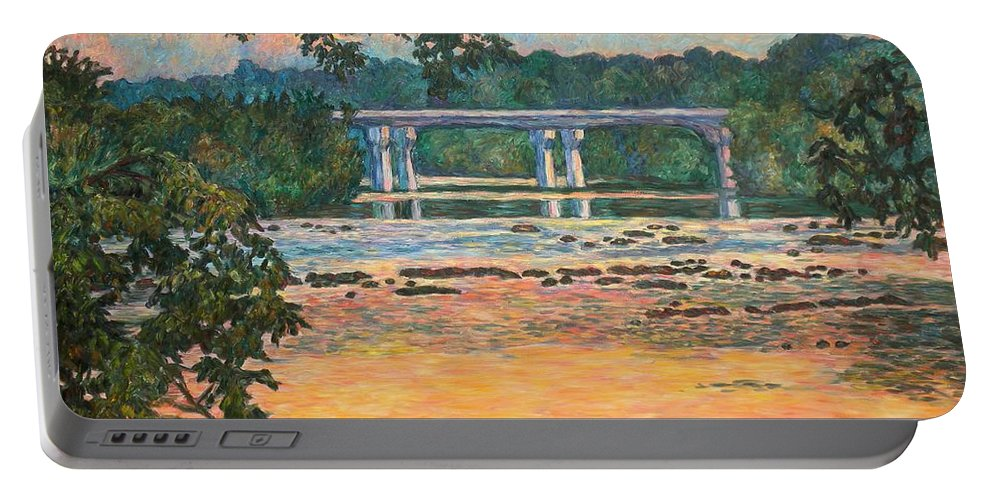 Landscape Portable Battery Charger featuring the painting New Memorial Bridge at Dusk by Kendall Kessler