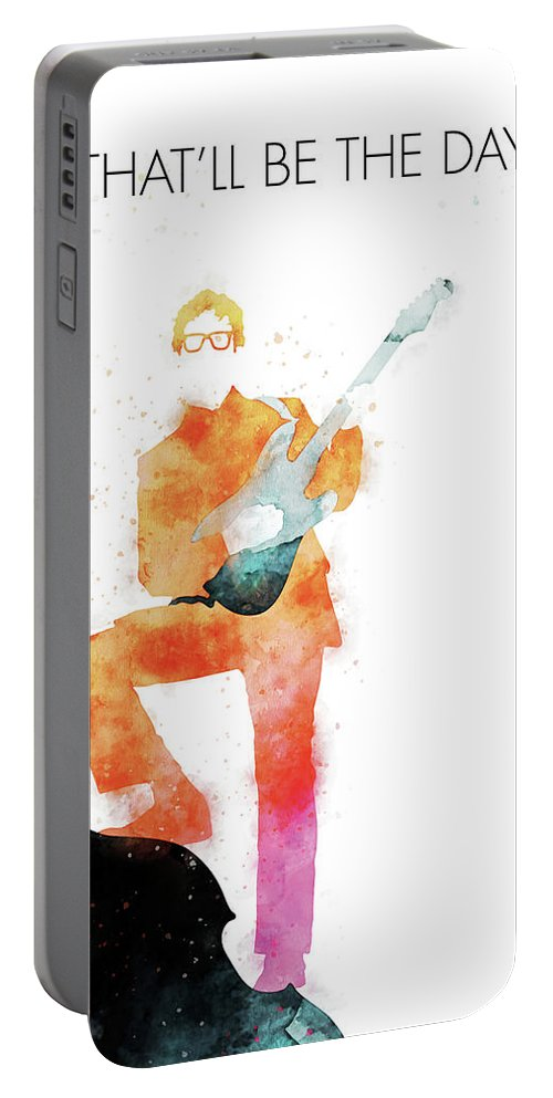 Buddy Portable Battery Charger featuring the digital art No056 MY BUDDY HOLLY Watercolor Music poster by Chungkong Art