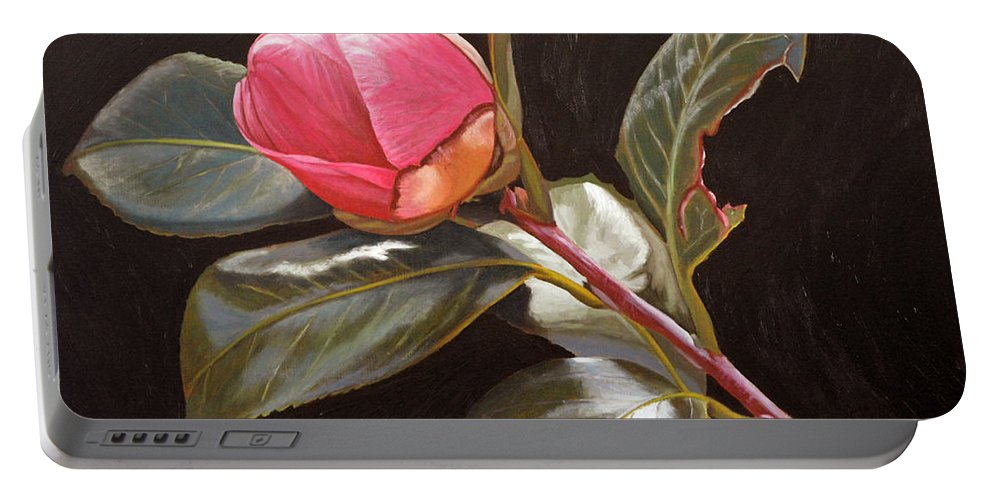 Rose Portable Battery Charger featuring the painting November Rose by Thu Nguyen