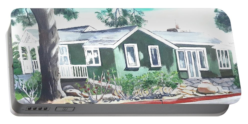 Landscape Portable Battery Charger featuring the painting Ocean Front House by Andrew Johnson