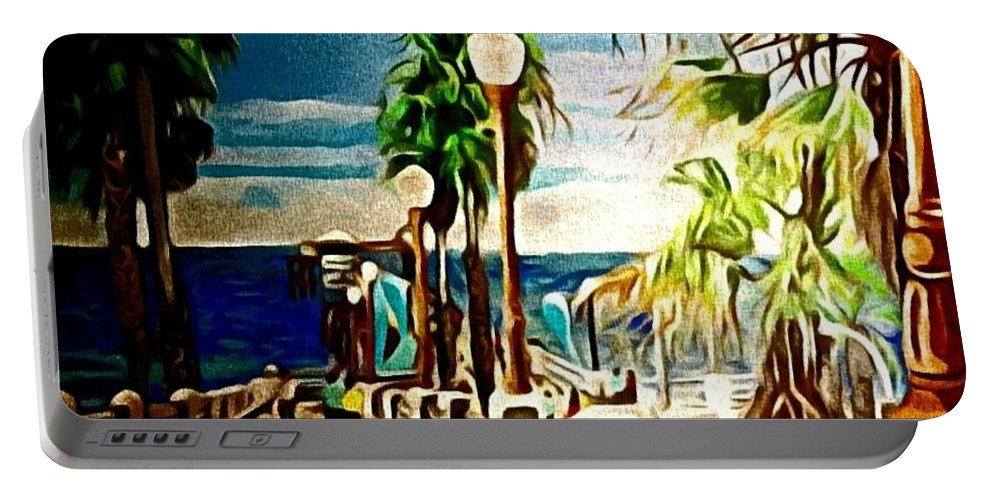 Landscape Portable Battery Charger featuring the painting Oceanside Peir by Andrew Johnson