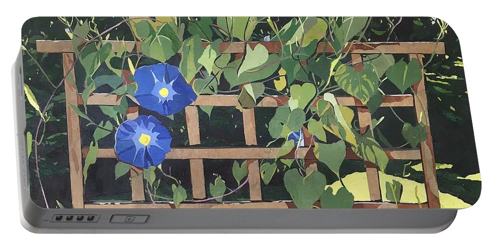 Floral Portable Battery Charger featuring the mixed media Oh Morning Glories by Leah Tomaino