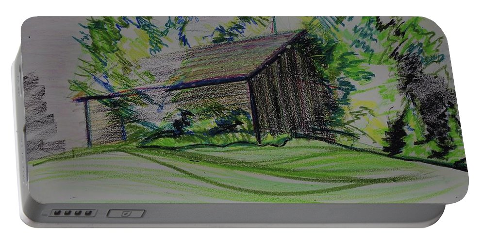 Plein Air Portable Battery Charger featuring the pastel Old Barn At Wason Pond by Sean Connolly