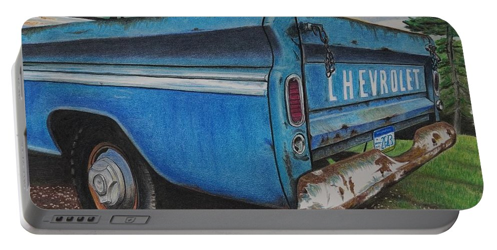 Wall Art Portable Battery Charger featuring the pastel Old Blue by Chris Naggy