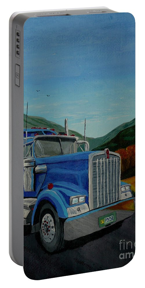 Truck Portable Battery Charger featuring the painting Big Blue by Anthony Dunphy
