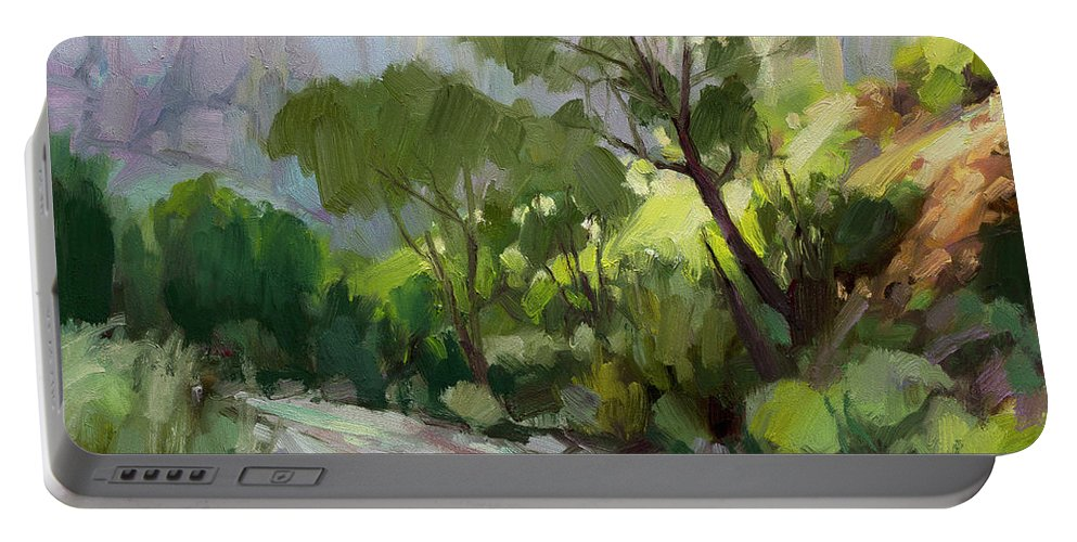 Zion Portable Battery Charger featuring the painting On the Temple Road by Steve Henderson