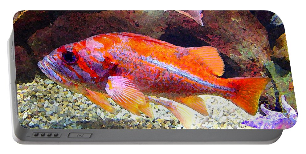 Fish Portable Battery Charger featuring the painting Orange and Purple Fish by Amy Vangsgard