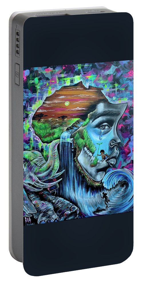 Bhm Portable Battery Charger featuring the painting Our History- BHM by Artist RiA