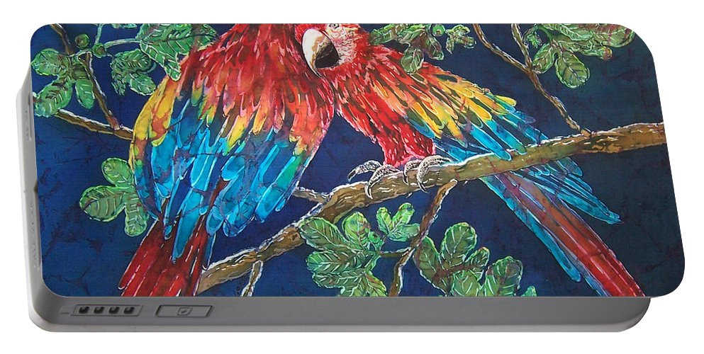 Macaws Portable Battery Charger featuring the painting Out on a Limb - Macaws Parrots by Sue Duda