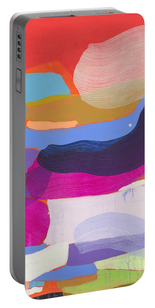 Abstract Portable Battery Charger featuring the painting Party Boat by Claire Desjardins