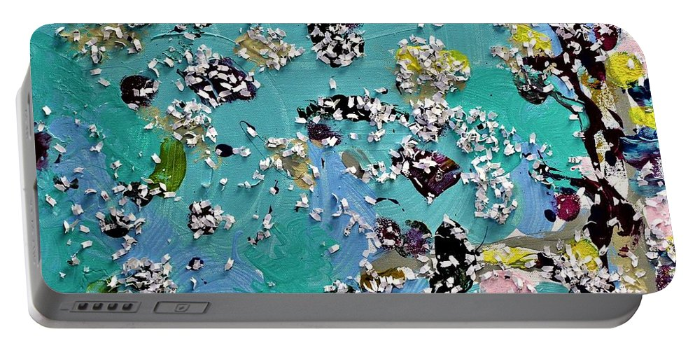 Blue Portable Battery Charger featuring the painting Party Time by Pam Roth O'Mara