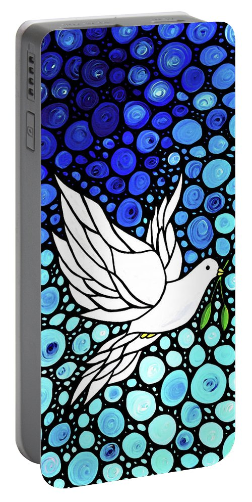 Peace Portable Battery Charger featuring the painting Peaceful Journey - White Dove Peace Art by Sharon Cummings