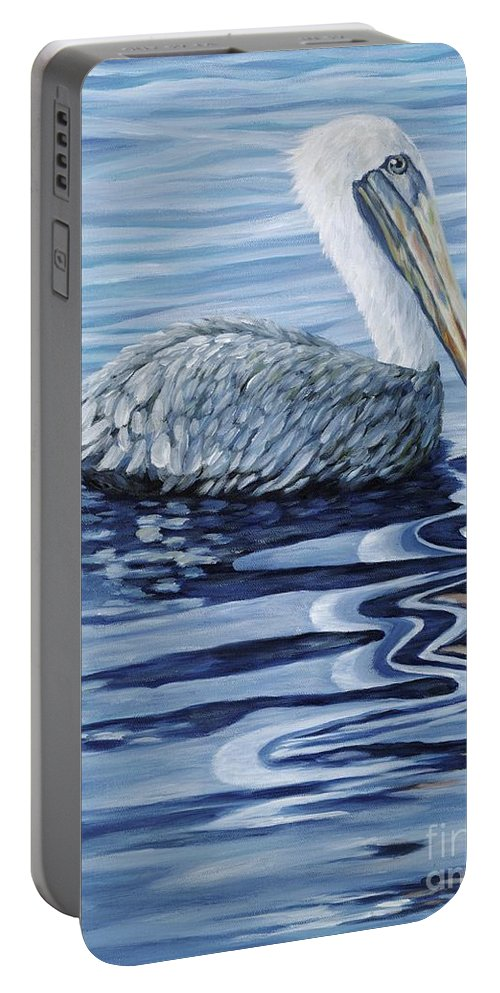 Pelican Portable Battery Charger featuring the painting Pelican Bay by Danielle Perry