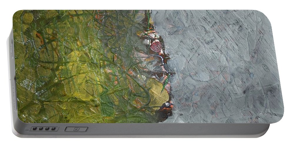 Green Portable Battery Charger featuring the painting Perspectives by Pam Roth O'Mara