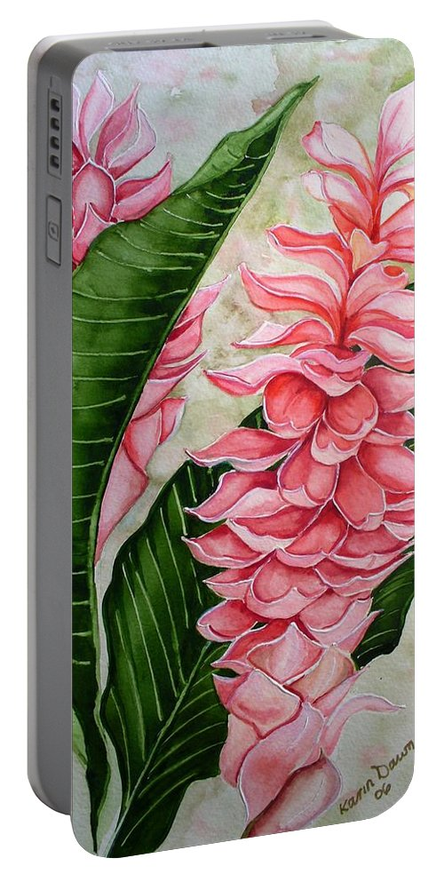 Flower Painting Floral Painting Botanical Painting Ginger Lily Painting Original Watercolor Painting Caribbean Painting Tropical Painting Portable Battery Charger featuring the painting Pink Ginger Lilies by Karin Dawn Kelshall- Best