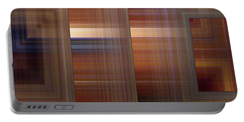 Abstract Portable Battery Charger featuring the painting Plaid Squared by RC DeWinter