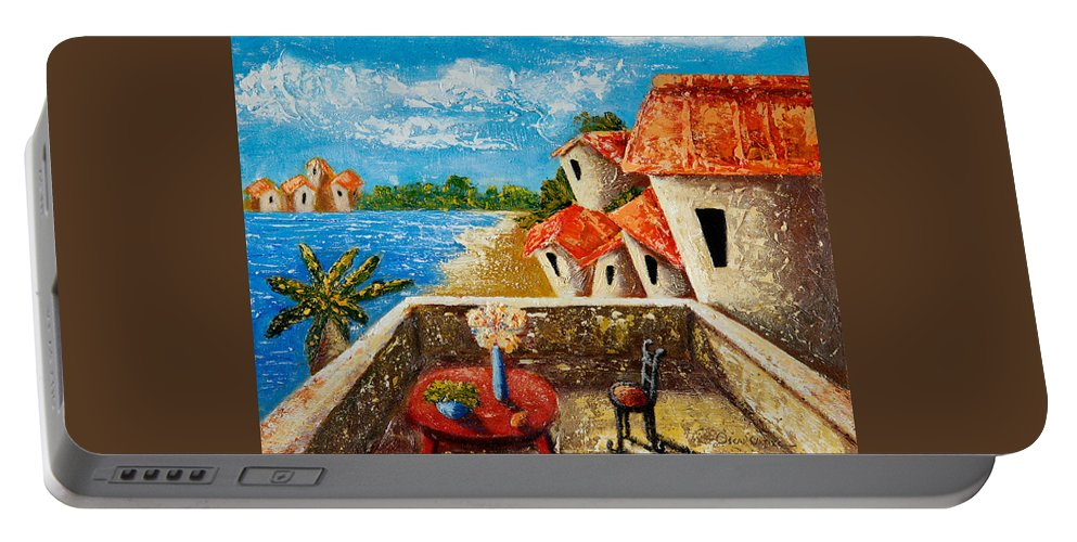 Landscape Portable Battery Charger featuring the painting Playa Gorda by Oscar Ortiz