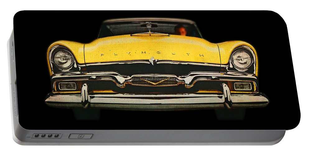 Big Yellow Plymouth Portable Battery Charger featuring the digital art Plymouth by Charles Stuart