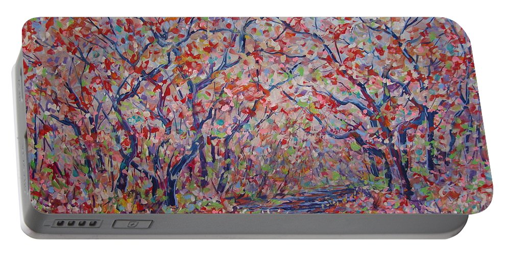 Landscape Portable Battery Charger featuring the painting Poetic Forest. by Leonard Holland