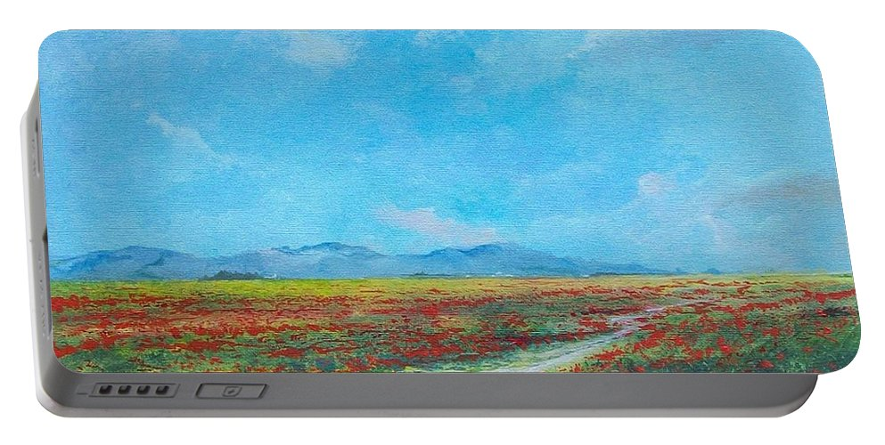 Poppy Field Portable Battery Charger featuring the painting Poppy Field by Sinisa Saratlic