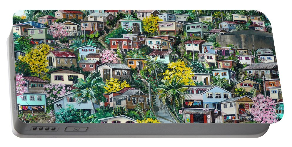 Landscape Painting Cityscape Painting Original Oil Painting  Blossoming Poui Tree Painting Lavantille Hill Trinidad And Tobago Painting Caribbean Painting Tropical Painting Portable Battery Charger featuring the painting Poui On The Hill by Karin Dawn Kelshall- Best