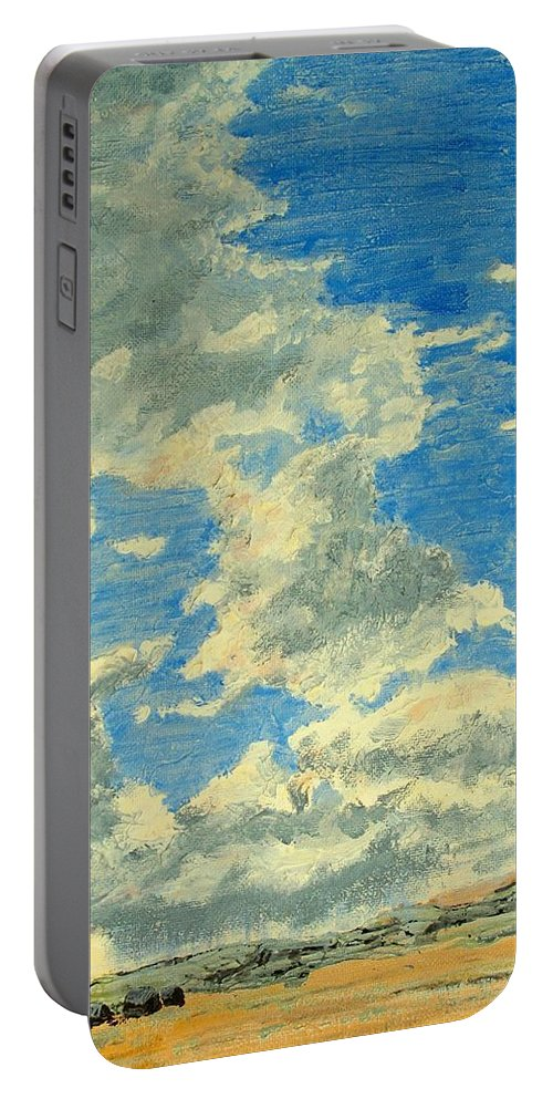 Clouds Portable Battery Charger featuring the painting Prairie Storm Coming by Ian MacDonald