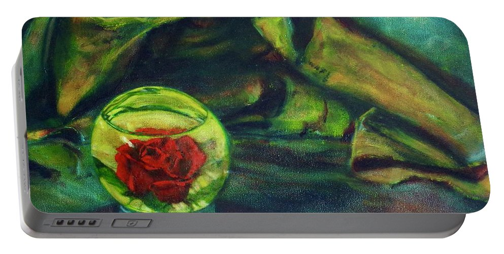 Oil Painting On Canvas Portable Battery Charger featuring the painting Preserved Rose . . Draped Canvas by Sean Connolly