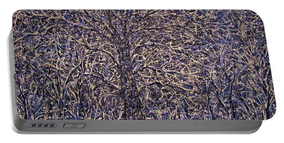 Landscape Portable Battery Charger featuring the painting Quiet Snowfall. by Natalie Holland