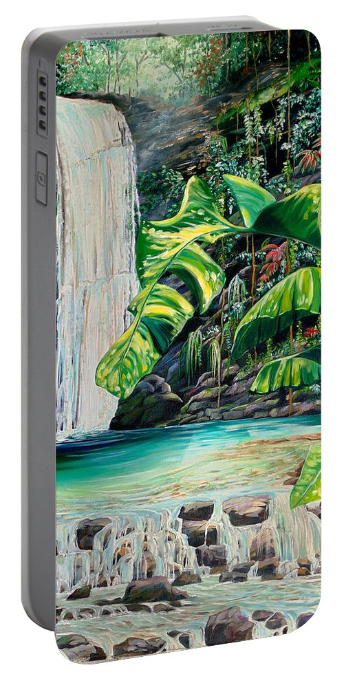 Water Fall Painting Landscape Painting Rain Forest Painting River Painting Caribbean Painting Original Oil Painting Paria Northern Mountains Of Trinidad Painting Tropical Painting Portable Battery Charger featuring the painting Rainforest Falls Trinidad.. by Karin Dawn Kelshall- Best