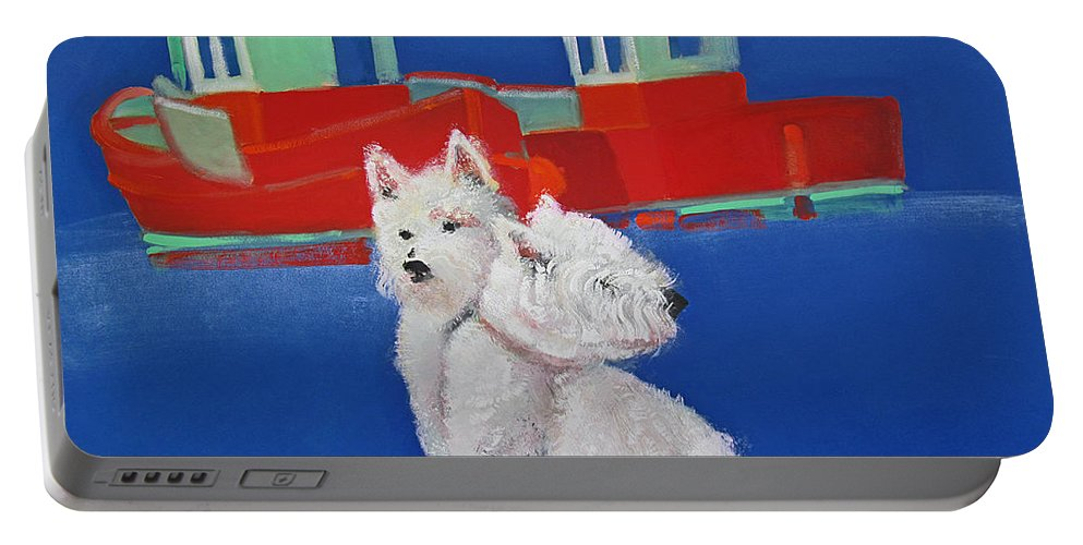 Puppies Portable Battery Charger featuring the painting Red Trawlers Walberswick by Charles Stuart