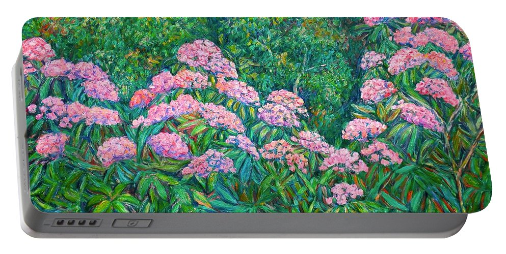 Floral Portable Battery Charger featuring the painting Rhododendron Near Black Rock Hill by Kendall Kessler